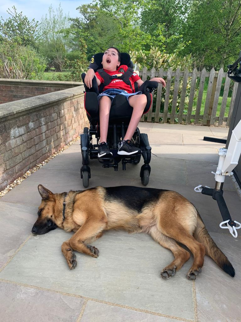 A1K9 personal protection dog Honey lying by wheelchair